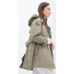 ZARA WOMAN Zip Up Hooded Trench Coat with Belt